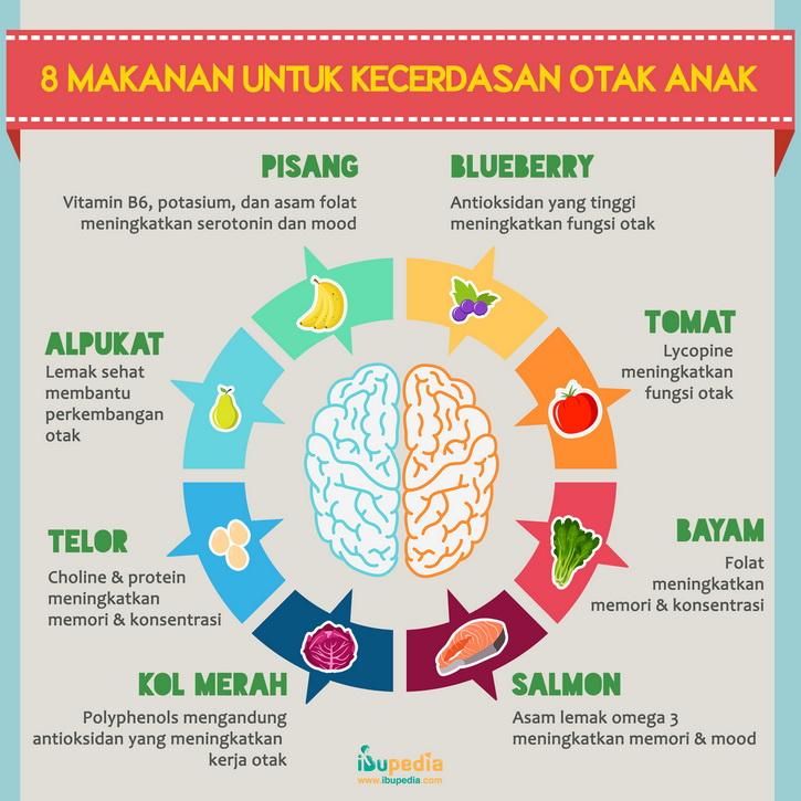 8 Makanan untuk Kecerdasan Otak Anak- Infografis - Ibupedia